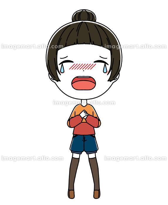 泣いている女の子の全身イラストの販売画像