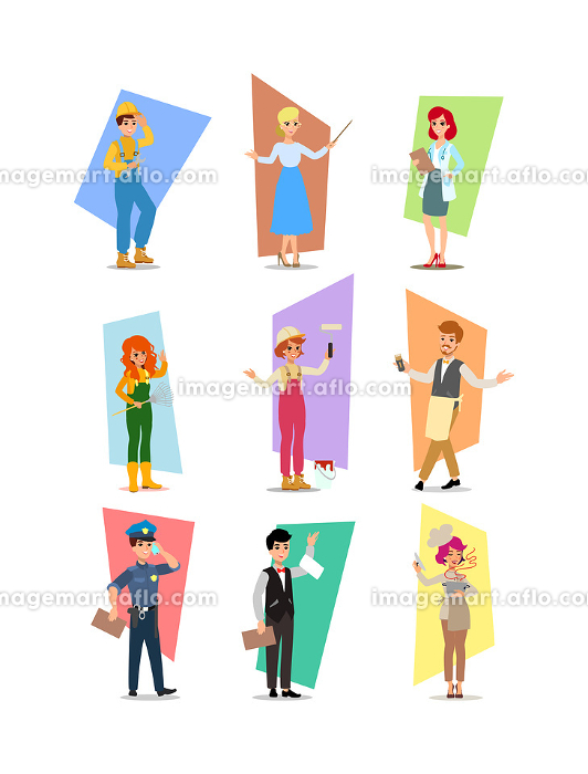 Set of people of different professions, career characters design, Labor Day, cartoon flat-style vector illustration. Set of vector flat design illustrations isolated on white background.の販売画像