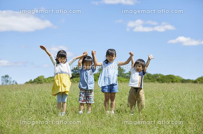 手を繋ぐ日本人の子供達の販売画像