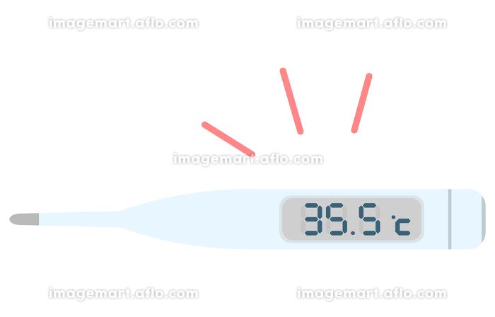 35.5度を示す体温計のイラスト