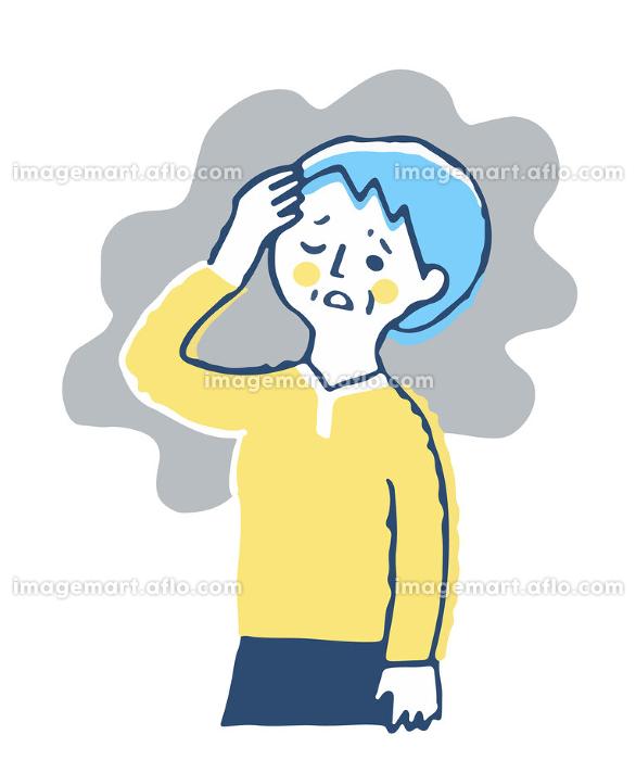 頭痛で困っているシニア女性の販売画像
