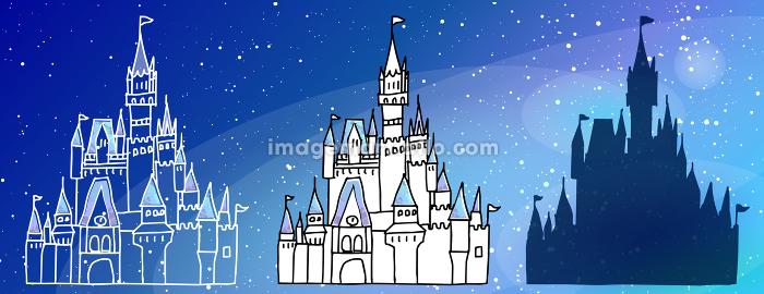 シンデレラの城の手書きアイコン線画セットの販売画像