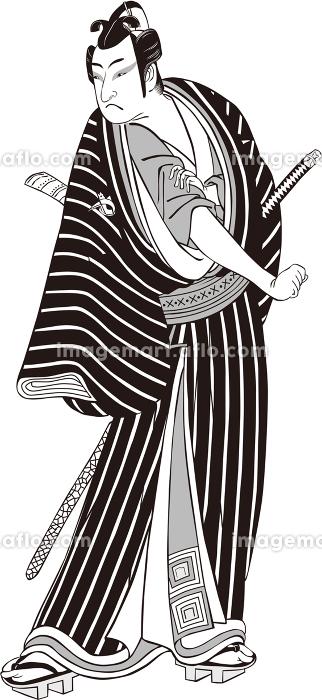 浮世絵 歌舞伎役者 その38 白黒の販売画像
