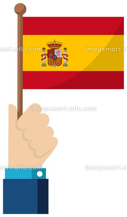 手持ち国旗イラスト ( 愛国心・イベント・お祝い・デモ ) / スペインの販売画像