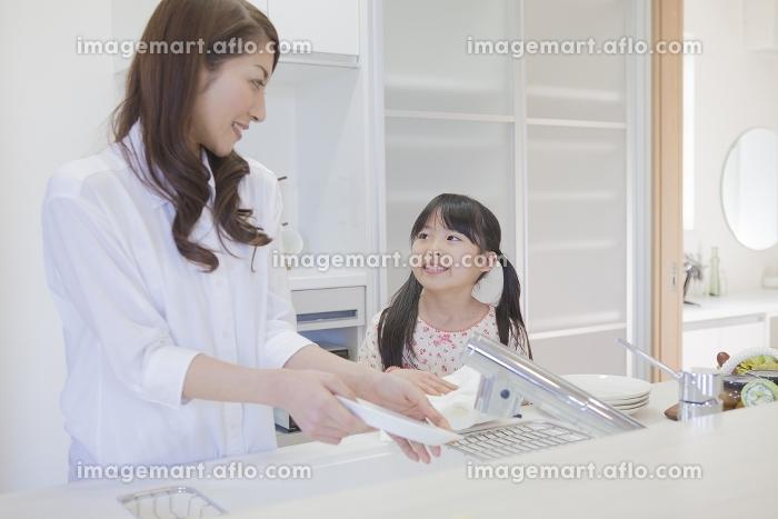 キッチンでお皿を洗う親子の販売画像