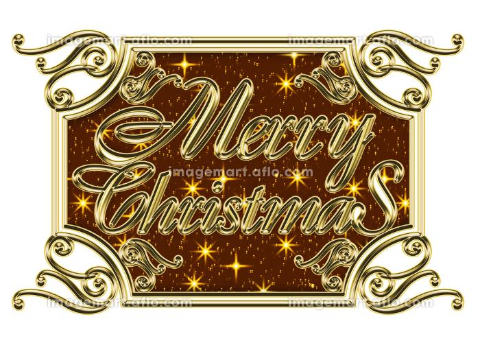金色のメタリックのレリーフ状のゴシック体のメリークリスマスのロゴ、アールヌーボー調のオーナメントの販売画像