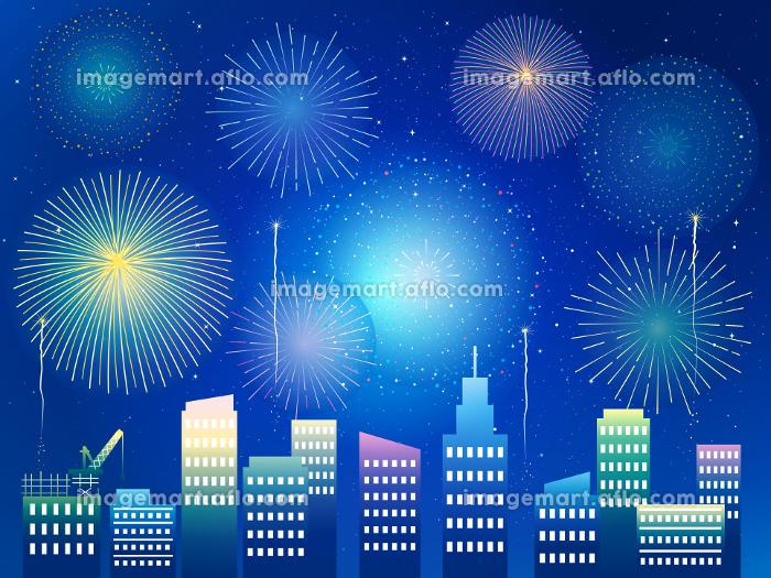 綺麗な花火と風景 花火大会 背景 イラスト素材の販売画像