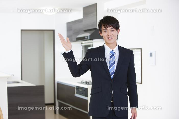 物件をチェックする男性ビジネスマンの販売画像