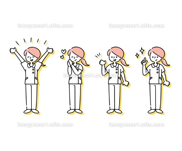 白衣を着た女性看護師の感情表現イラスト(全身)の販売画像