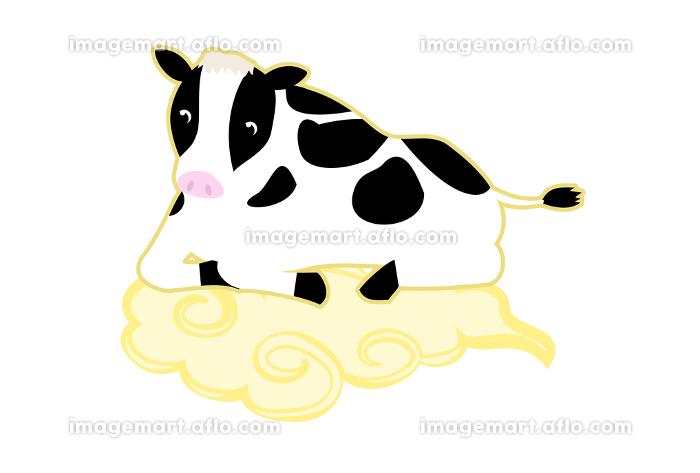 筋斗雲に寝そべる牛のイラスト