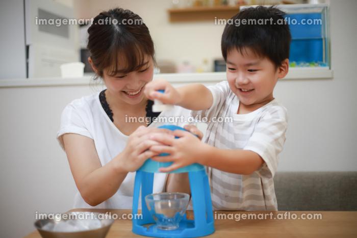 かき氷を作る親子の販売画像