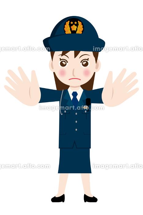 働く人制止のポーズをする制服を着た婦人警官・警察官・お巡りさんのイラスト若者青年の販売画像
