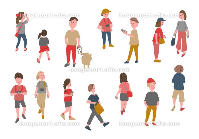 人々の日常生活 手掻き風イラストセットの販売画像