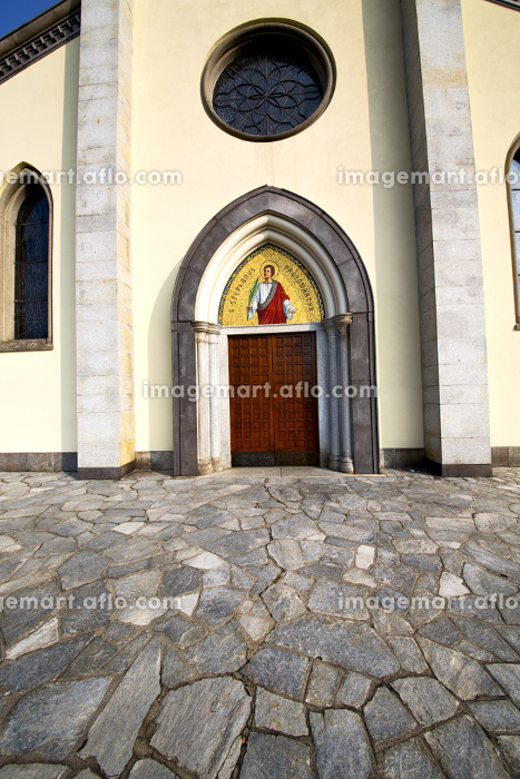 church  in  the  taino  closed brick tower sidewalk italy  lombardy     old