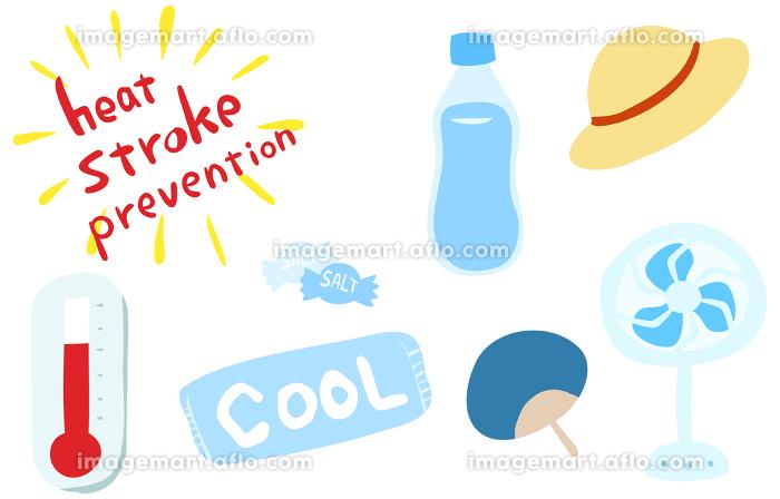 熱中症対策グッズのセット 水分と塩飴と保冷剤、麦わら帽子と扇風機の販売画像