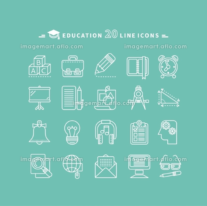 Set of white education thin, lines, outline icons. Items for study alphabet, pencil, headphones, bag, computer, glasses on green background. For web and mobile applicationsの販売画像