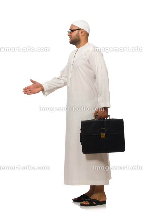 Concept with arab man isolated on whiteの販売画像