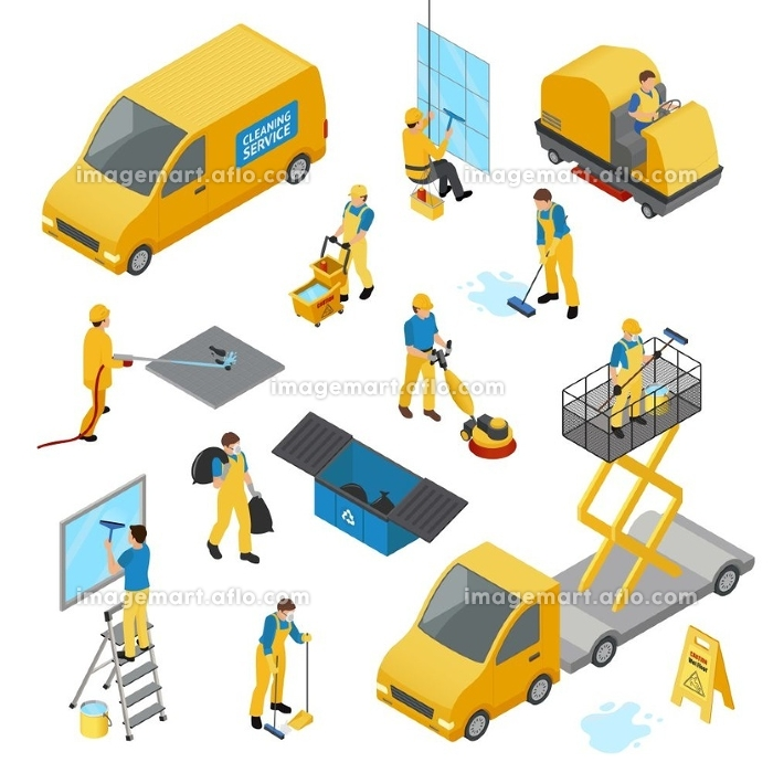 Isometric Industrial Cleaning Icon Set. Colored isometric industrial cleaning icon set with people in yellow work uniform vector illustration