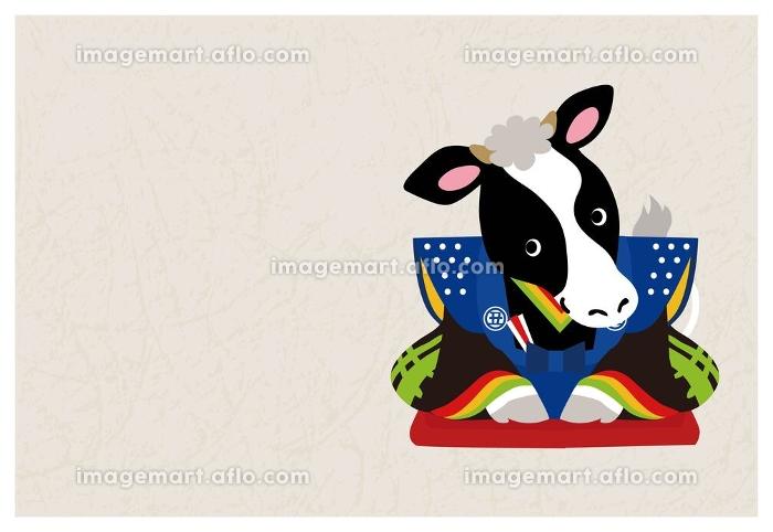 年賀状 2021年 丑年 牛の置物と正月飾り 福助 イラスト