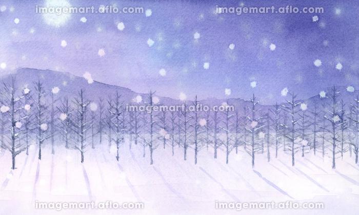 満月と雪が降る景色 水彩画の販売画像
