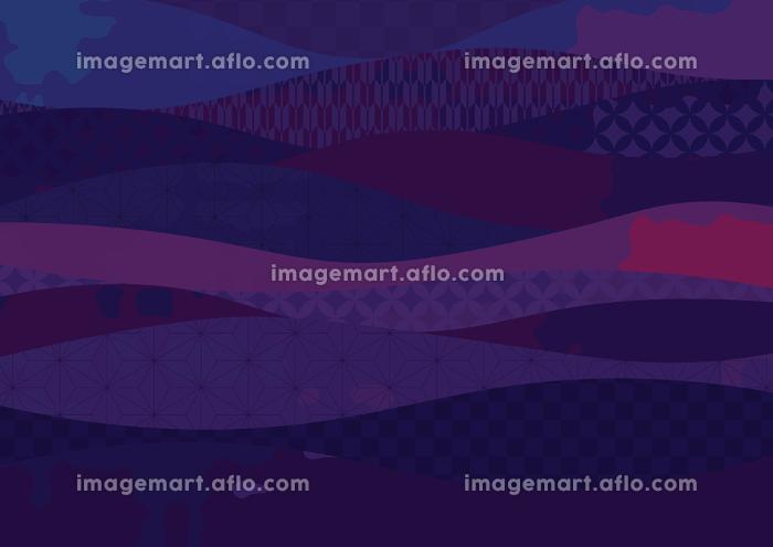 かっこいい和柄の波模様背景 紫色 142198821 イメージマート