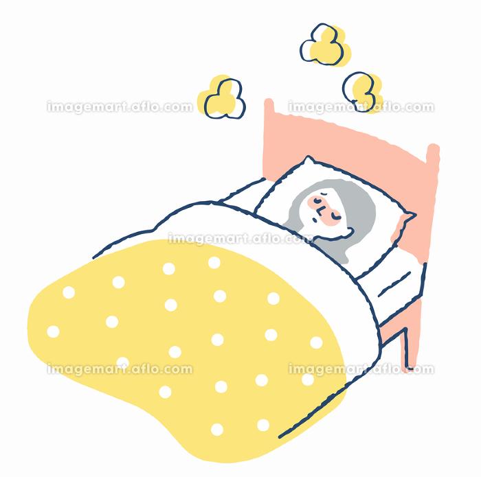 ベッドで寝ている風邪の女性の販売画像