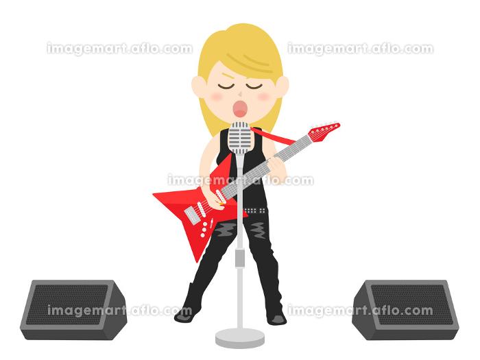 女性ロックミュージシャンのコンサートのイラストの販売画像
