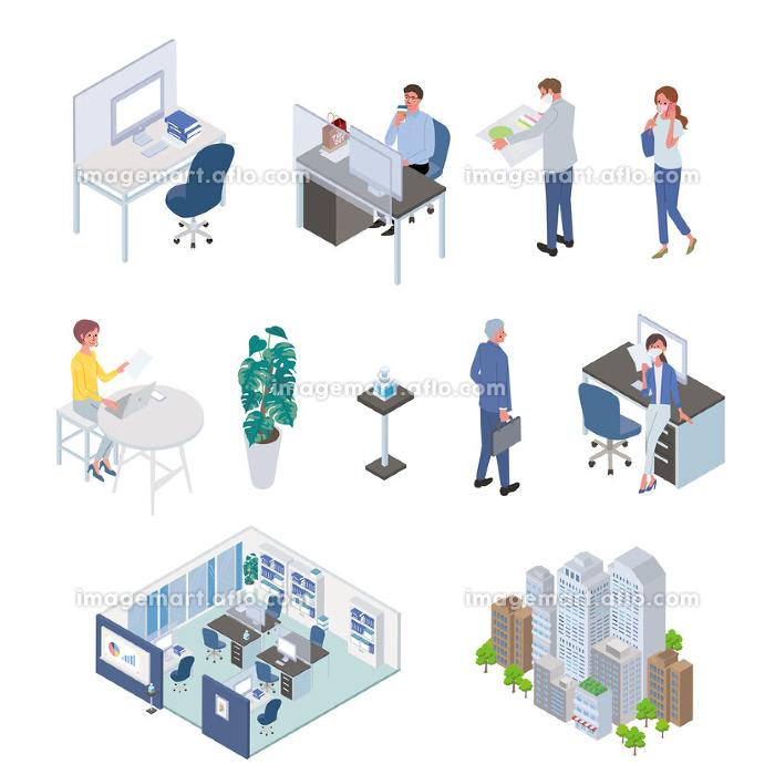 ニューノーマル コロナ対策のオフィスのイラスト ウィズコロナの販売画像