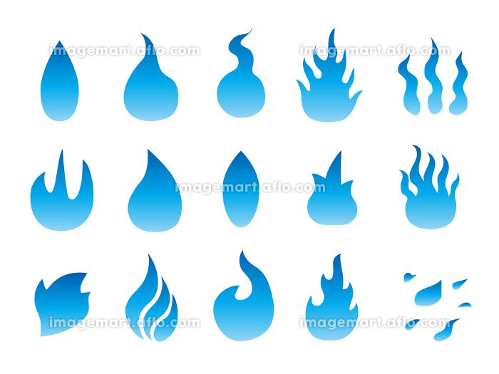 青い炎のアイコンマーク素材集の販売画像