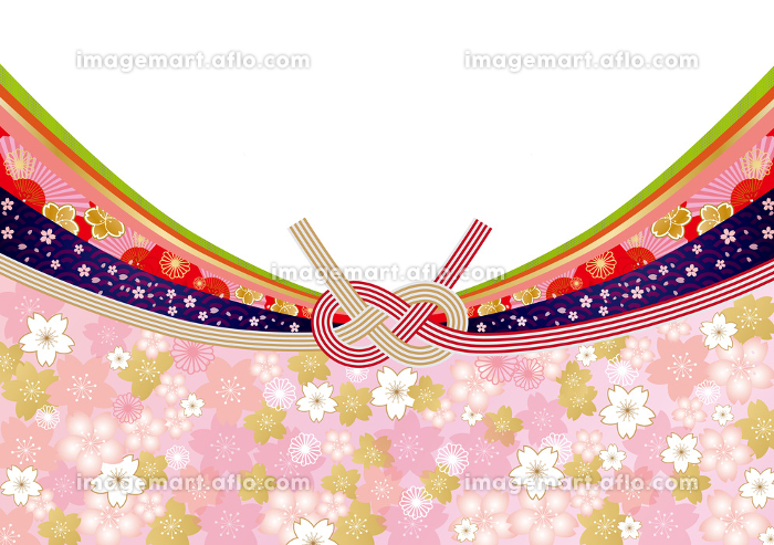 水引:和風 帯 桜 水引き 和風 模様 着物 成人式 ひな祭り 正月 和柄 フレーム 桜 帯 新年