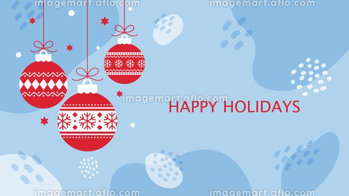 クリスマス用背景素材、水色の抽象的背景に吊り下げられた赤いオーナメントの販売画像