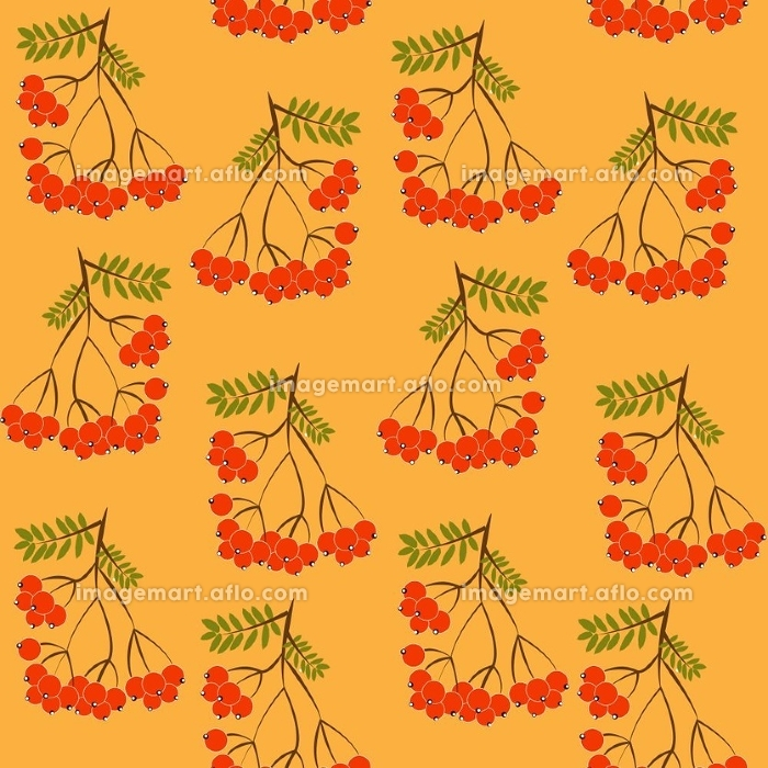 Seamless pattern background with rowanberrys and leafs