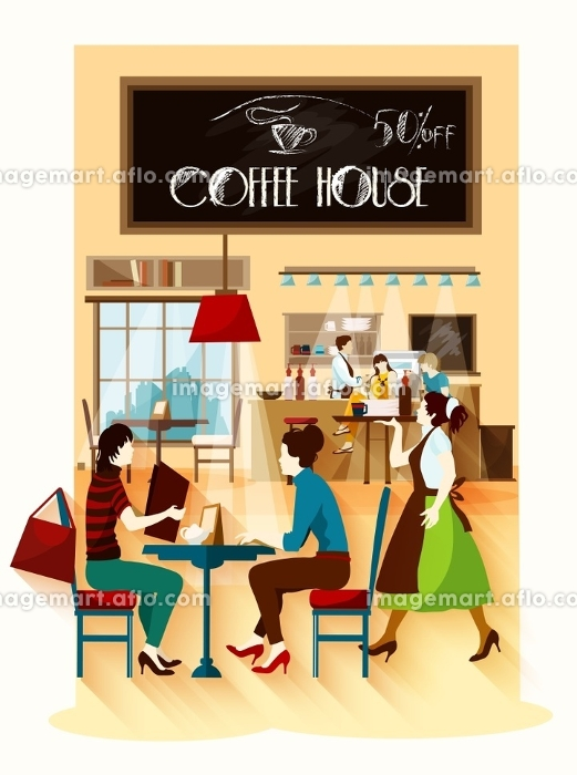 Coffee House  Design Concept. Coffee house  design concept with cafe employees behind bar waitress with tray and visitors sitting at table flat vector illustration