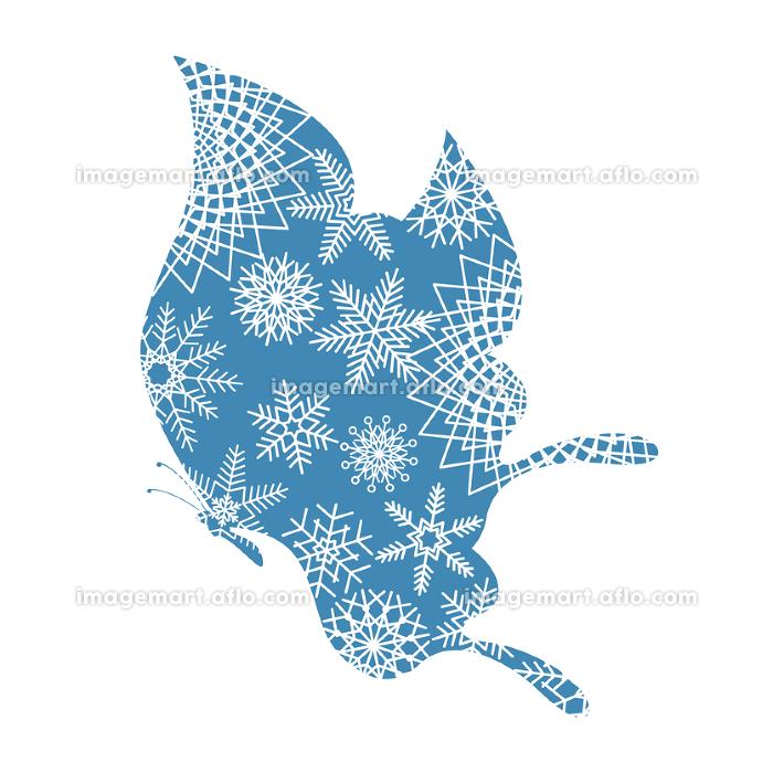 クリスマス素材 胡蝶と雪の結晶のデザイン アゲハチョウのオーナメント イラスト ベクターの販売画像