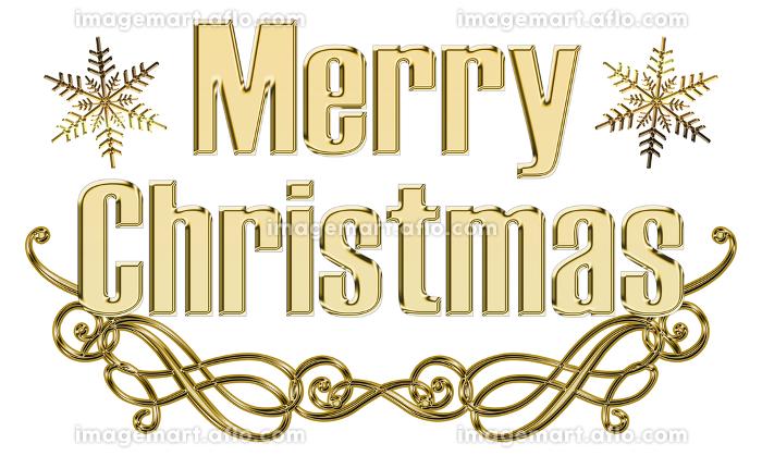 金色メタリックのレリーフ立体的ゴシック体のメリークリスマスのロゴ、アールヌーボー調のオーナメントの販売画像