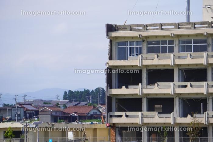 津波により被災した建物の外壁、宮城県気仙沼市震災遺構の販売画像