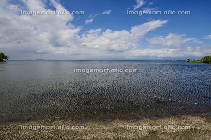 長浜から見る琵琶湖のスカイラインの販売画像