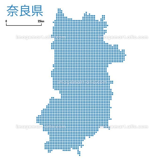 奈良県の詳細地図近畿地方|都道府県別ドット表現の地図のイラスト ベクターデータの販売画像