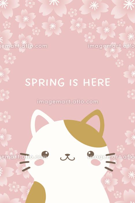 かわいいネコと桜の縦型バナー、背景素材の販売画像
