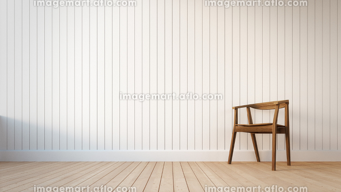 Chair and white wall with vertical stripesの販売画像