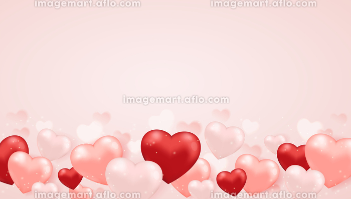 Decorative festive horizontal background for Valentine's day with pink and red heart balloons. Vector illustration.