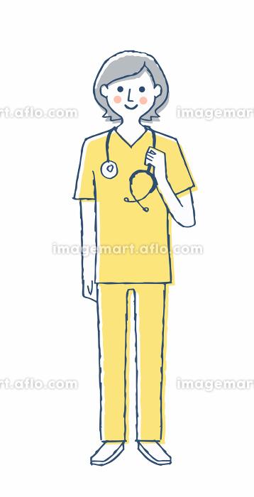 スクラブ姿の医療従事者 女性の販売画像