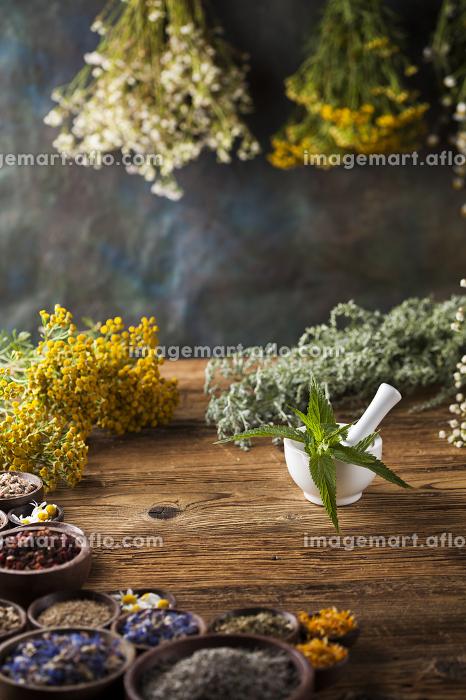 Fresh medicinal, healing herbs on woodenの販売画像