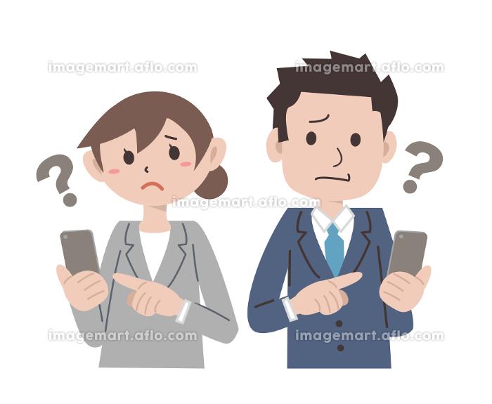 ビジネス スーツ スマートフォン 操作 男女の販売画像