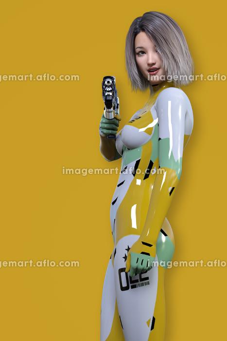 スタイリッシュなマスタードカラーのボディスーツを着て銃を持って振り返る女性戦闘隊員の販売画像
