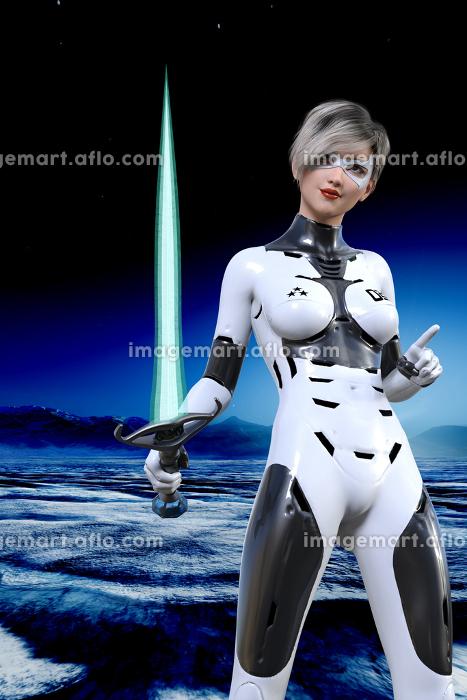 目元にマスクをしたショートカットの女性が極寒の星で白いボディスーツを着てビームソードを片手に攻め入るの販売画像