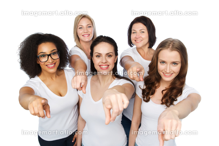 group of happy women pointing finger on youの販売画像
