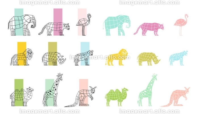 Wild Animals Flat Polygonal Icons Set. Southern wild animals polygonal linear computer graphic image color choosing process flat icons set vector illustration