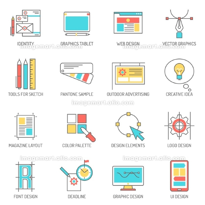 Designer icons line set with graphics tablet identity and branding symbols isolated vector illustration. Designer Icons Line Set