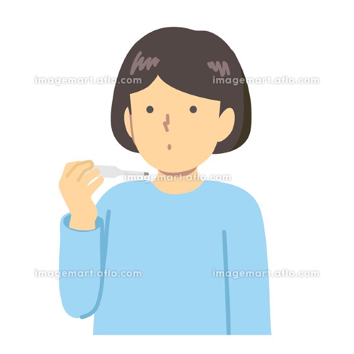 体温を測る少女のイラスト素材の販売画像